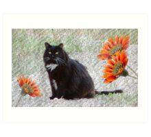 Textured Tuxedo Cat Art Print