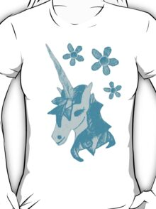 Unicorn Flower Fabric Art  - Sketch Effect T-Shirt