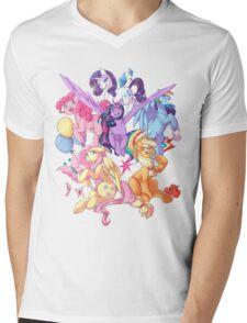 My Little Pony transparent print Mens V-Neck T-Shirt