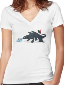 Toothless & Totodile Women's Fitted V-Neck T-Shirt
