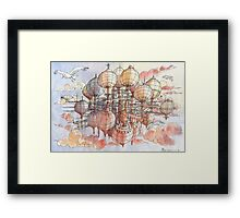 The flying village! Framed Print