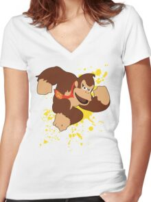 Donkey Kong (DK) - Super Smash Bros Women's Fitted V-Neck T-Shirt