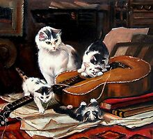 Playing with the Guitar after Henriette Ronner-knip by Hidemi Tada