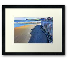 Robin hoods bay sea wall Framed Print