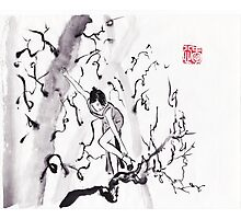 Contemporary Japanese ink painting design by Lee Henrik Photographic Print