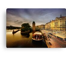Masarykovo nabrezi and the Vltava river, Prague Metal Print