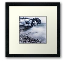 Frozen shore of Georgian Bay in winter art photo print Framed Print