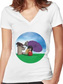 Kokeshi Doll Women's Fitted V-Neck T-Shirt