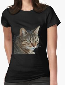 Stunning Tabby Cat Close Up Portrait Vector Isolated Womens Fitted T-Shirt