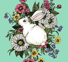 Rabbit in Flowers by beesants