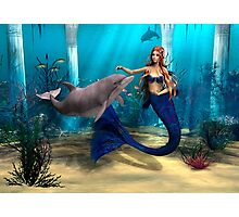 Mermaid and Dolphin Photographic Print