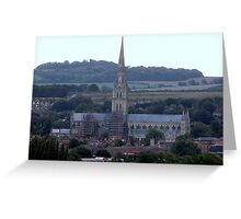 Salisbury Cathedral in  the distance Greeting Card