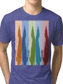 Reflected Images Of A Line Of Cats Tri-blend T-Shirt