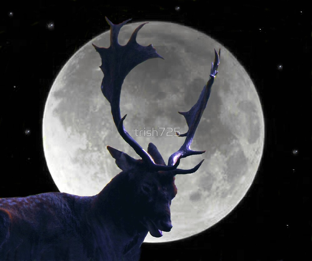 Stag and Moon by trish725