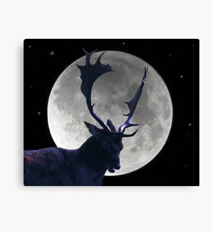 Stag and Moon Canvas Print