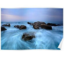 painting with waves and rocks Poster