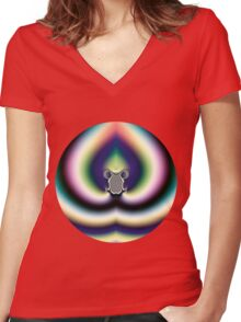 Psychedelic Heart Women's Fitted V-Neck T-Shirt