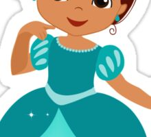 African American  Princess in a turquoise dress Sticker