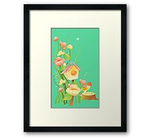 Yellow and peachy watercolor flowers Framed Print