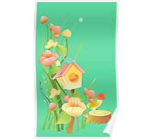 Yellow and peachy watercolor flowers Poster