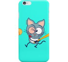 Cool cat playing baseball iPhone Case/Skin