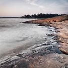 Red rocks on shore of Georgian Bay at dawn art photo print by ArtNudePhotos