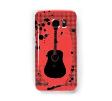 Ink-Spattered Black Acoustic Guitar Samsung Galaxy Case/Skin