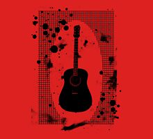 Ink-Spattered Black Acoustic Guitar Unisex T-Shirt