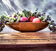 Fruit in a Wooden Bowl by suzannem73