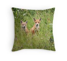 The Red Fox Kits Throw Pillow