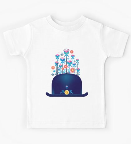 Creative hat with blue flowers Kids Tee