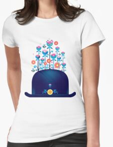 Creative hat with blue flowers Womens Fitted T-Shirt