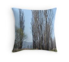 Poplars by the Coolaburragundy River Coolah NSW Throw Pillow