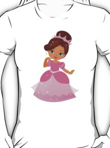 African American Beautiful Princess in a pink dress T-Shirt