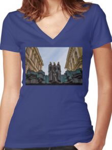 Lithuania. Vilnius. National Drama Theater. Sculptures. Women's Fitted V-Neck T-Shirt