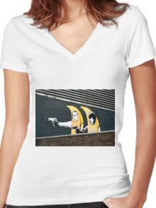 Banana Pulp Fiction  Women's Fitted V-Neck T-Shirt