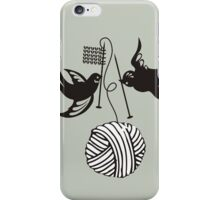 Cute birds knitting needles ball of yarn iPhone Case/Skin