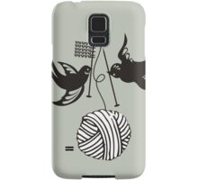 Cute birds knitting needles ball of yarn Samsung Galaxy Case/Skin