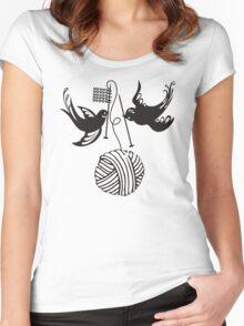 Cute birds knitting needles ball of yarn Women's Fitted Scoop T-Shirt