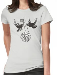 Cute birds knitting needles ball of yarn Womens Fitted T-Shirt