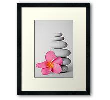 Zen Pebbles and Frangipani Flower Framed Print