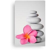 Zen Pebbles and Frangipani Flower Canvas Print