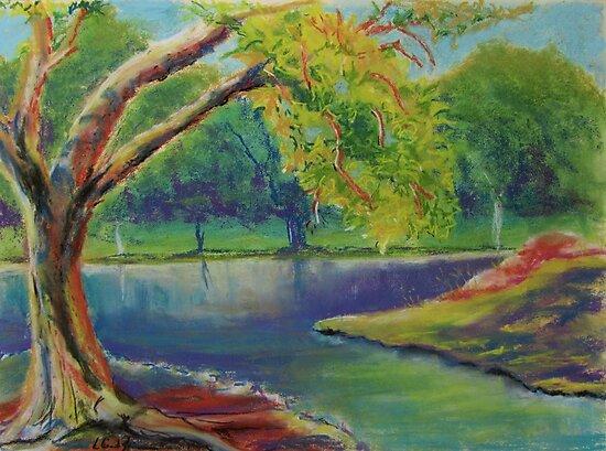 Irvine Park Lake  by Leslie Gustafson