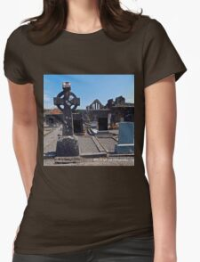 Ireland - Celtic Cross and Church Womens Fitted T-Shirt