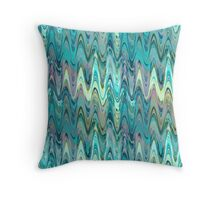Blues greens wavy Aztec psychedelic zigzag pattern Throw Pillow
