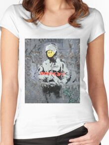Banksy Smile Cop  Women's Fitted Scoop T-Shirt