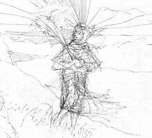 Woman in the field    2darts,  by Ian Farnbach