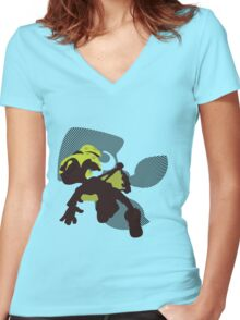 Light Green Male Inkling - Splatoon Women's Fitted V-Neck T-Shirt