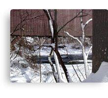 Jericho Covered Bridge Snow Scene Metal Print