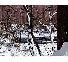 Jericho Covered Bridge Snow Scene Photographic Print